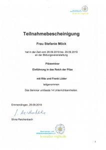 Teilnahmebescheinigung Stefanie Möck 28. - 29. September 2019 Einführung in das Reich der Pilze mit Rita und Frank Lüder